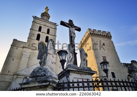 Palais des Papes - Palace of the Popes - in Avignon, France - stock photo