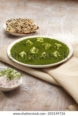 Palak Paneer gravy with nan, Indian Food, India - stock photo