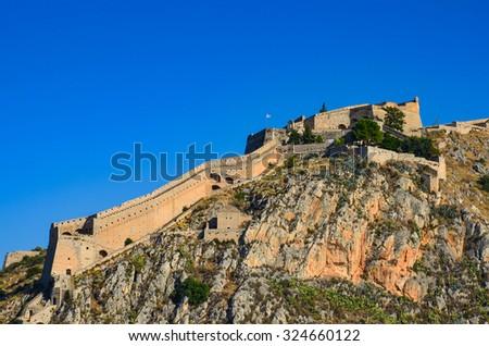Palamidi fortress on the hill, Nafplion - Greece - stock photo