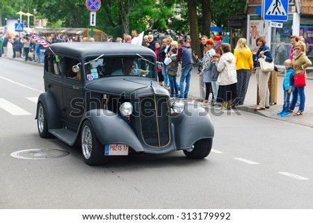 PALANGA, LITHUANIA - AUGUST 02: the car of the American production participates in American Spirit Pearl Rally 2015 on August 02, 2015 in Palanga, Lithuania