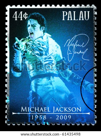 PALAU - CIRCA 2010: A postage stamp printed in Palau showing Michael Jackson, circa 2010 - stock photo