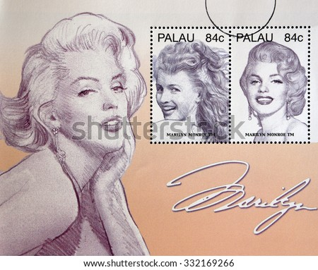 PALAU - CIRCA 2006: Stamps printed in Palau shows Marilyn Monroe, circa 2006 - stock photo