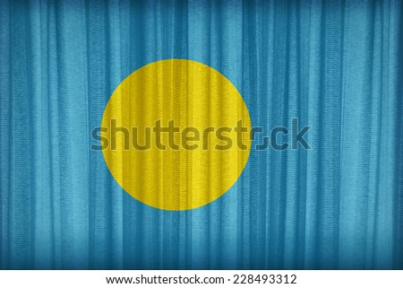 Palau flag pattern on the fabric curtain,vintage style - stock photo