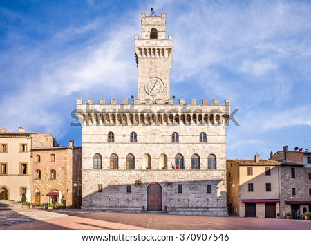 Palazzo Comunale (Town Hall) in antique Montepulciano town, Tuscany - stock photo
