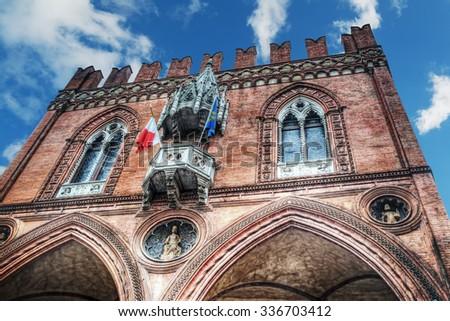 Palazzo della Mercanzia in Bologna, Italy - stock photo