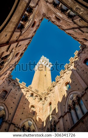 Palazzo Pubblico, Palace in Siena, Italy - stock photo