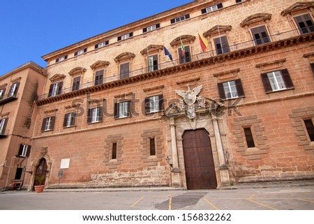 Palazzo Reale (Royal palace) renaissance side in Palermo: the seat of the regional parliament of Sicily, main entrance - stock photo