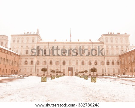 Palazzo Reale (The Royal Palace) in Turin Italy - winter view with snow vintage