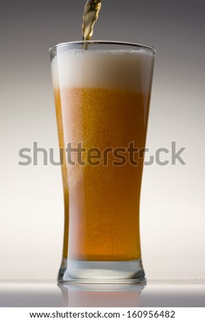 Pale Ale Beer in a Beer Glass with Grey Background