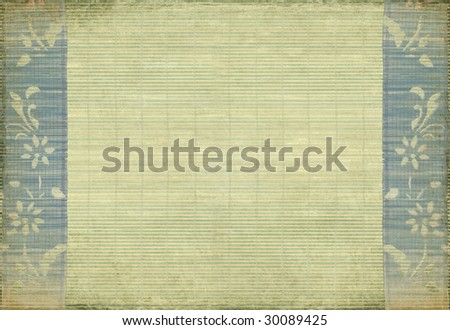 pale blue washed flower and bamboo grunge on cream slatted background - stock photo