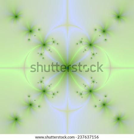 Pale Green and Blue Floral Cross / An abstract fractal image with a floral cross design in pale blue, yellow and green. - stock photo