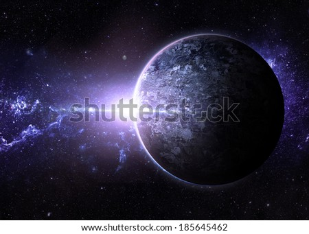 Pale Sunrise over Lone Planet - Elements of This Image Furnished By NASA  - stock photo
