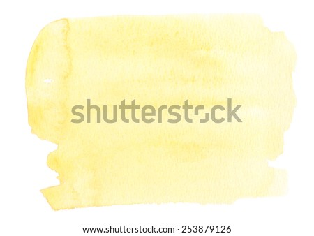 Pale yellow background painted in watercolor on white - stock photo