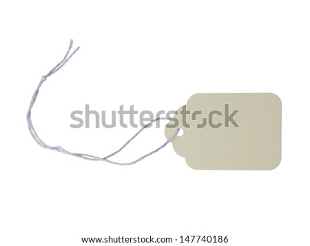 Pale yellow blank tag on solid white background - stock photo