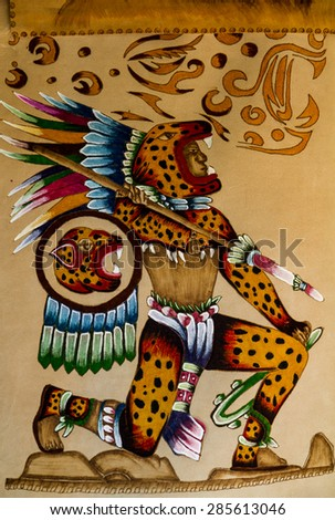 Palenque, MEXICO - MARCH 29, 2015: Paint on the skin of Pakal - Mexican Crafts God Palenque, Mexico. - stock photo