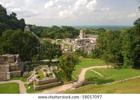 Palenque Palacio, Mexico - stock photo