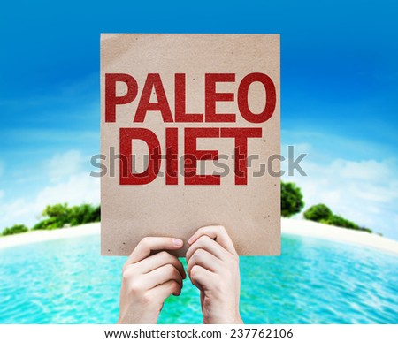 Paleo Diet card with a beach on background - stock photo