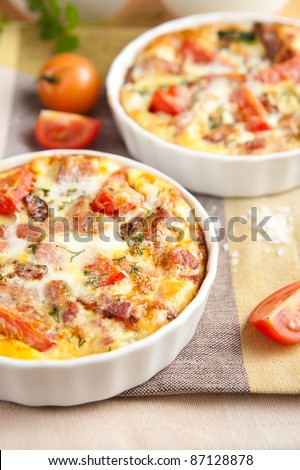 Paleo Style Frittata with Fresh Vegetables and Bacon - stock photo