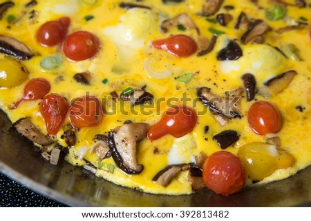 Paleo Style Frittata with Fresh Vegetables and Shiitake Mushrooms - stock photo