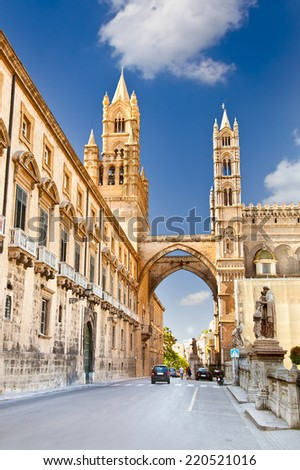 Palermo Cathedral is Roman Catholic Archdiocese of Palermo, Palermo, Italy. - stock photo