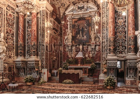 PALERMO, ITALY - APRIL 16 2017: Catholic christian church with easter decorations in Palermo, Sicily