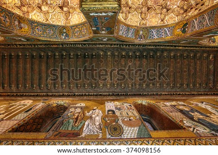 PALERMO, ITALY - FEBRUARY 07 2016: Imperial Chapel Cappella Palatina in the Imperial Palatine Palace of Palermo, Sicily in Italy