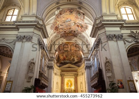 PALERMO, ITALY - JUNE 13, 2016: Interior of Metropolitan Cathedral of the Assumption of Virgin Mary is the cathedral church of the Roman Catholic Archdiocese of Palermo.