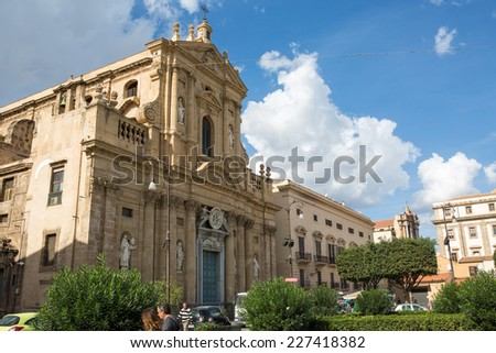 PALERMO, ITALY - OCTOBER 23, 2014: Church of Santa Maria della Pieta in Palermo, Italy. This baroque church was designed by architect G. Amato and built between 1678 and 1684.