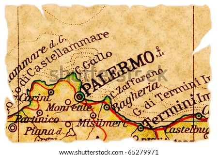 Palermo, Italy on an old torn map from 1949, isolated. Part of the old map series. - stock photo