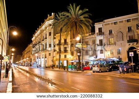 PALERMO; ITALY-SEPTEMBER 14; 2014: Vittorio Emanuele street  at night on September 14; 2014 in Palermo; Italy.Palermo is the 5th most populated area in Italy and the most populated on Sicily.