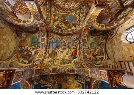 PALERMO, SICILY/ITALY - OCTOBER 25 2015: Interior Shot of the famous church Santa Maria dell AmmiraglioLa Martorana in Palermo in Sicily, Italy