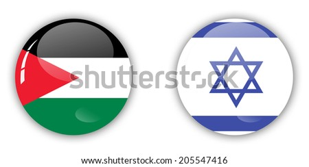 palestine and israel flag - stock photo