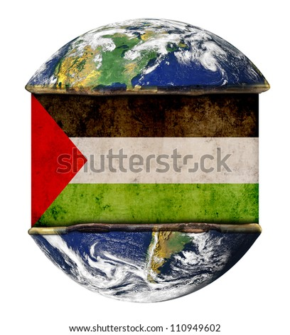 Palestine earth globe flag. Elements of this image furnished by NASA. - stock photo