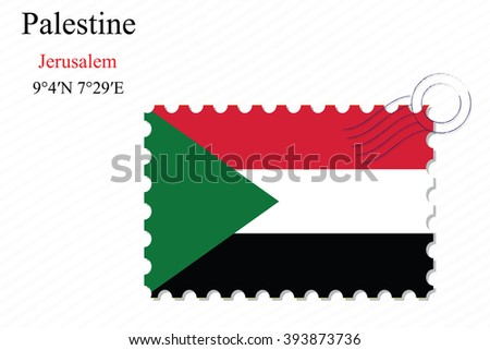 palestine stamp design over stripy background, abstract art illustration, image contains transparency