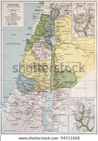 Palestine tribes old map with Jerusalem insert maps. By Paul Vidal de Lablache Atlas Classique, Librerie Colin, Paris, 1894 - stock photo