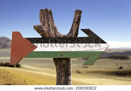 Palestine wooden sign isolated on desert background - stock photo