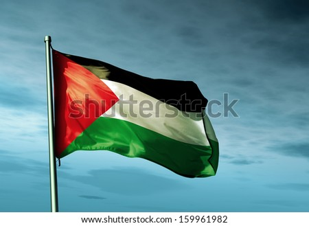 Palestinians flag waving on the wind - stock photo