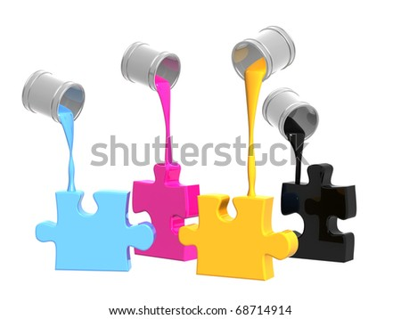 Palette CMYK. Objects over white - stock photo