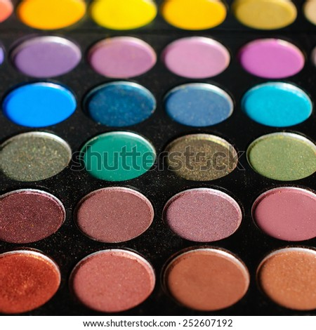 Palette of colorful eyeshadow - Square composition - stock photo