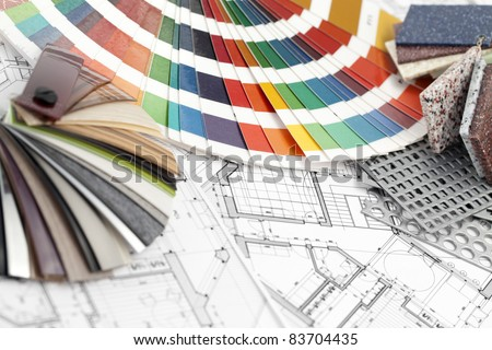 palette of colors designs for interior works, samples of plastics, PVC, for furnishing, artificial stone, perforated metal, coated with a polymer and architectural plans for houses - stock photo
