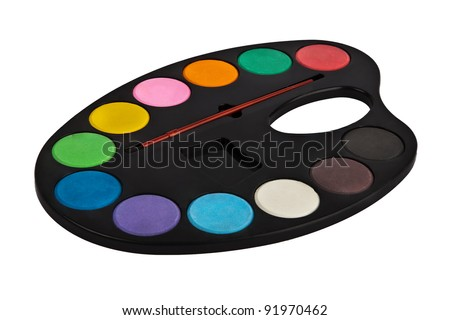 palette of colors isolated on white - stock photo