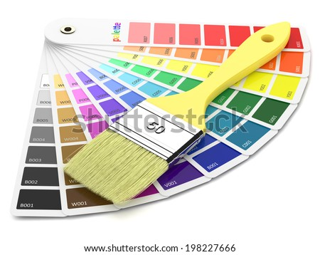 Palette of paint samples and paintbrush isolated on white background