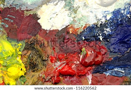 Palette with oil paintings
