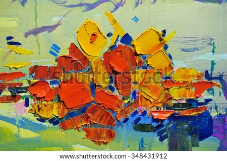 Palette with oil paints, background, texture, background, select - stock photo