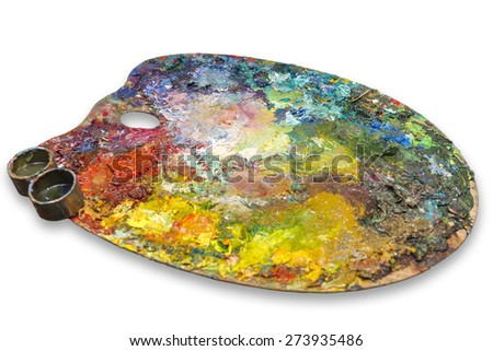 Palette with oil paints on a white background. - stock photo