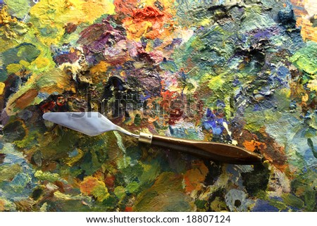 palette with palette-knife - stock photo