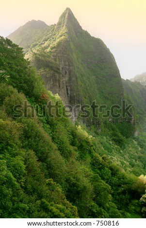 Pali in sunset (an important historical place in Hawaiian history) - stock photo