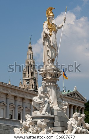 Pallas Athene in front of austrian parliament - stock photo