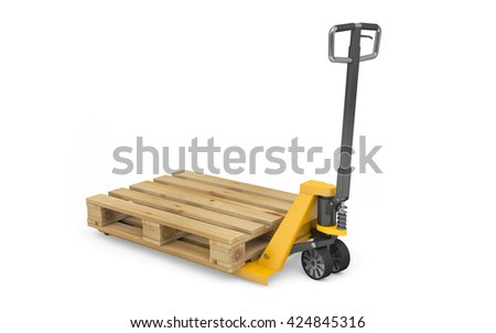 Pallet jack with wooden pallet isolated on white with clipping path. 3d rendering - stock photo
