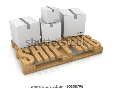 pallet made with the word: shipping (3d render) - stock photo